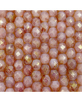 Fire-Polish 6mm : Gold Marbled Luster - Pink