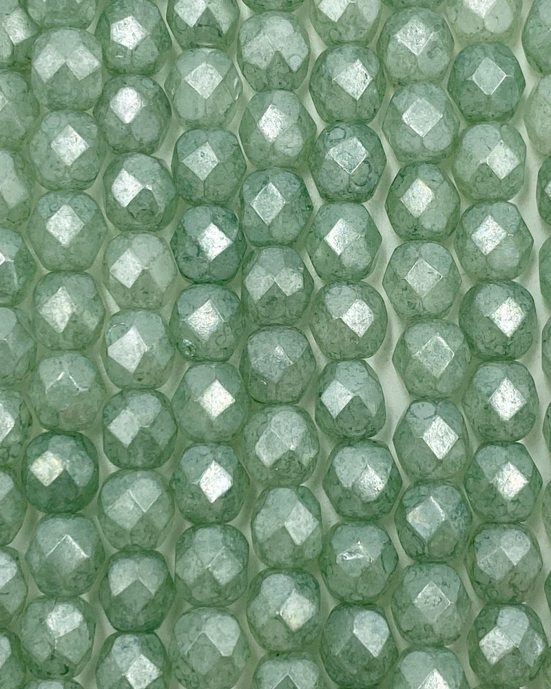 Firepolish 6mm : Luster - Stone Green