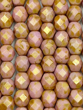 Fire-Polish 6mm : Luster - Opaque Rose/Gold Topaz