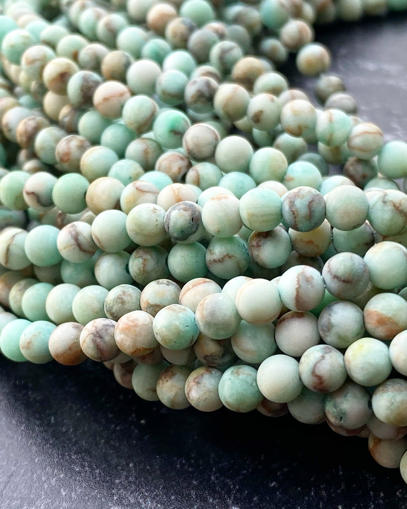 4mm Matte Green Turquoise Stone