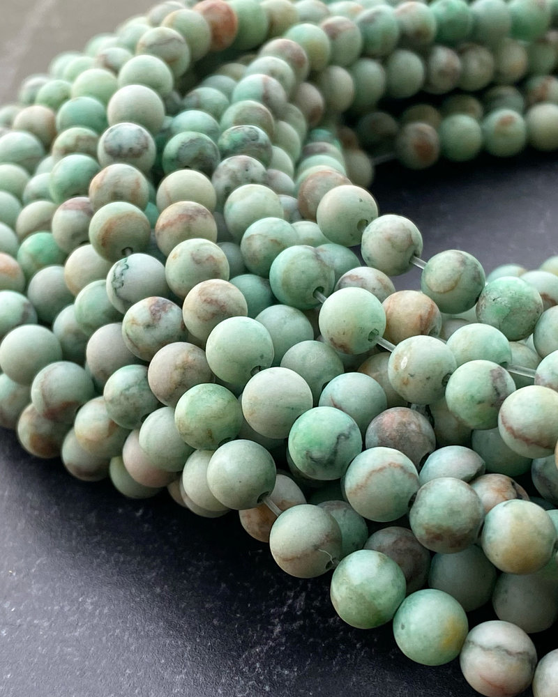 6mm Matte Green Turquoise Stone