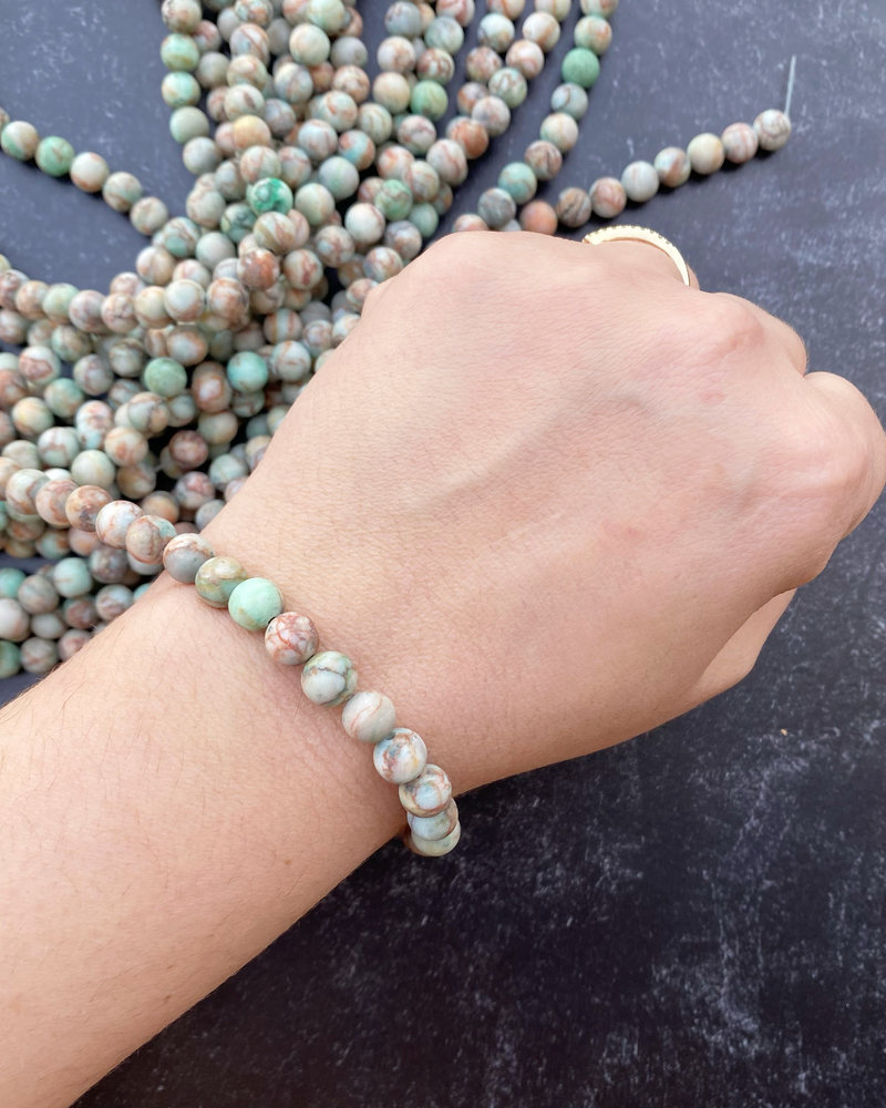 8mm Matte Green Turquoise Stone