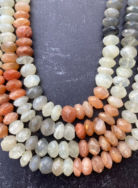 12mm Faceted Rondelle Mixed Moonstone