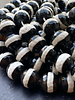 14mm Faceted Black Agate With Stripe