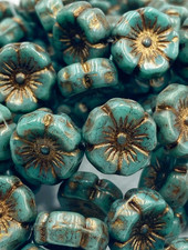 12mm Hawaiian Flower- Sea Green Gold Bronze Finish