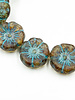12mm Hawaiian Flower- Transparent Turquoise Picasso