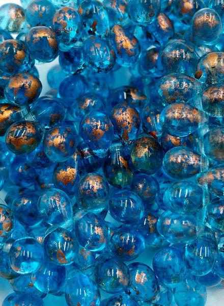 5x7mm Teardrop: Pacific Blue Copper Splash