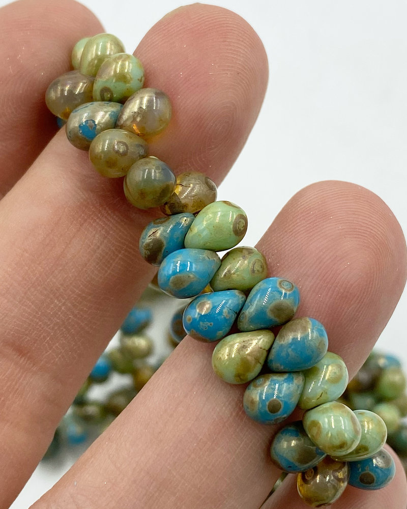 5x7mm Teardrop: Pacific Blue, Sea Green Picasso Mix