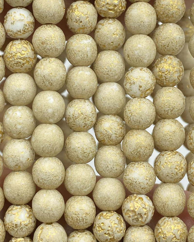 6mm Round Druk Beige Gold Wash Etched