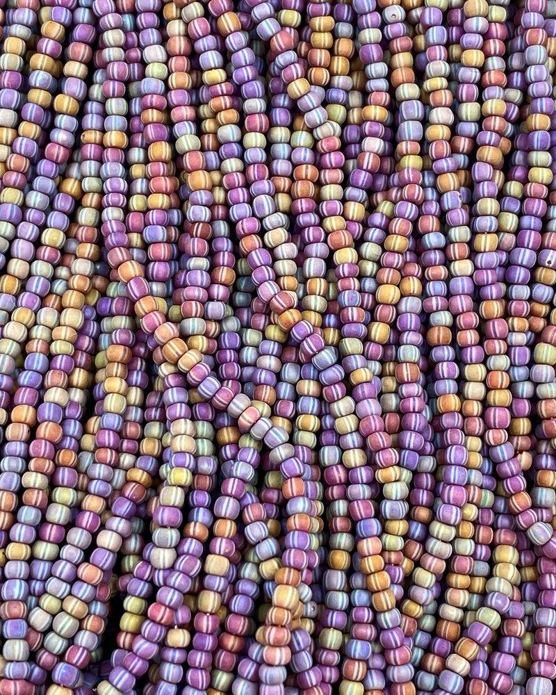 SIZE 11/0 #547B Dark Brown White Black Stripe Matte Rainbow
