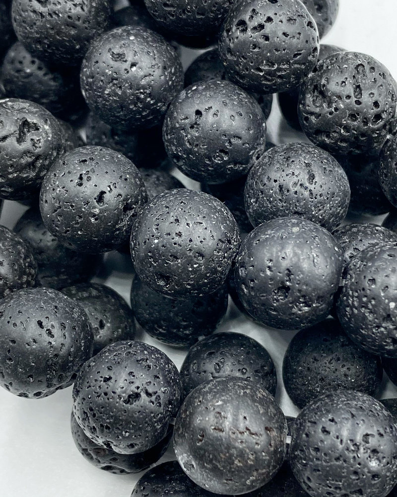 12mm Black Lava Stone