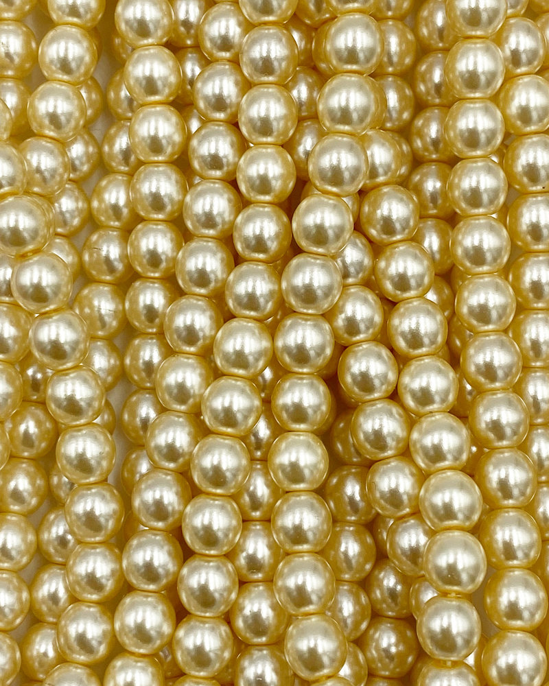 6mm Round Druk: Dark Eggshell Pearl