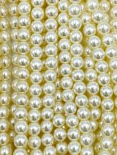 6mm Round Druk: Eggshell  Pearl
