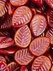 12x16mm Leaf Beads-Red Golden Luster Pink Wash