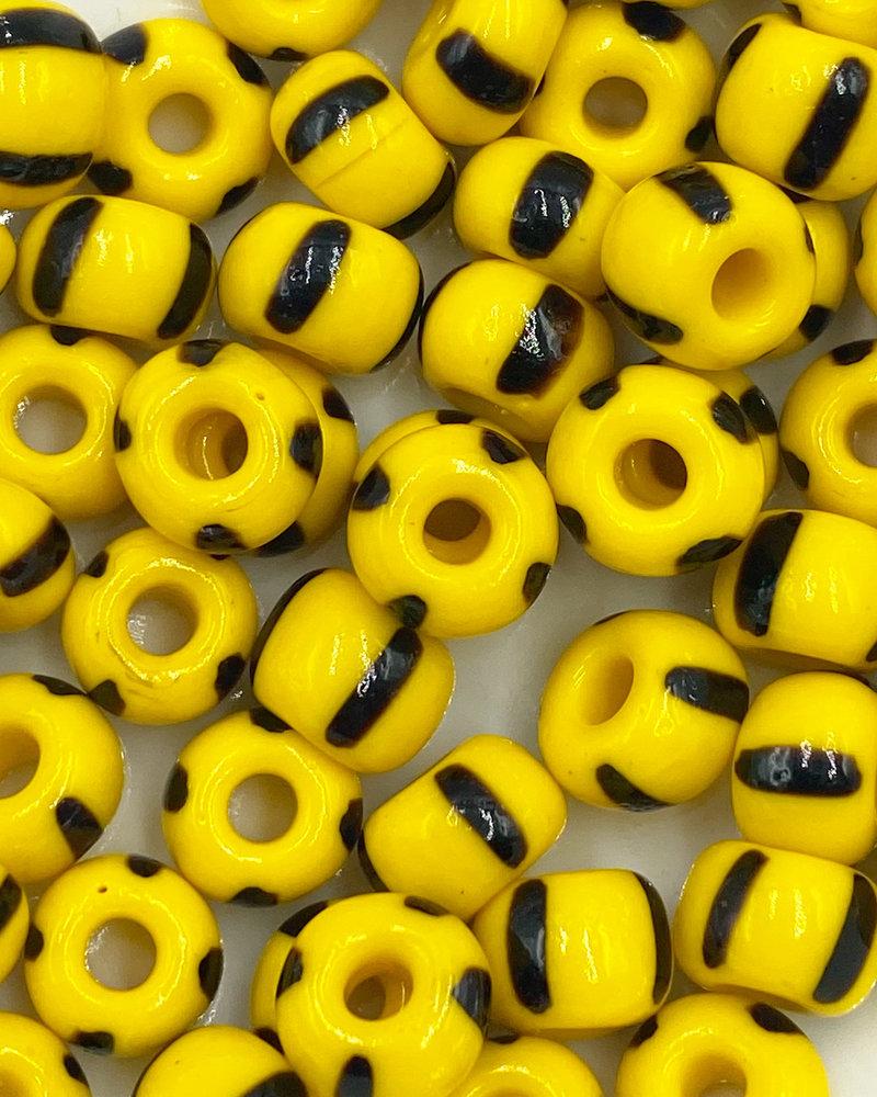 Jumbo Seed Bead #523 Dark Yellow Black 4 Stripe- 50pc.