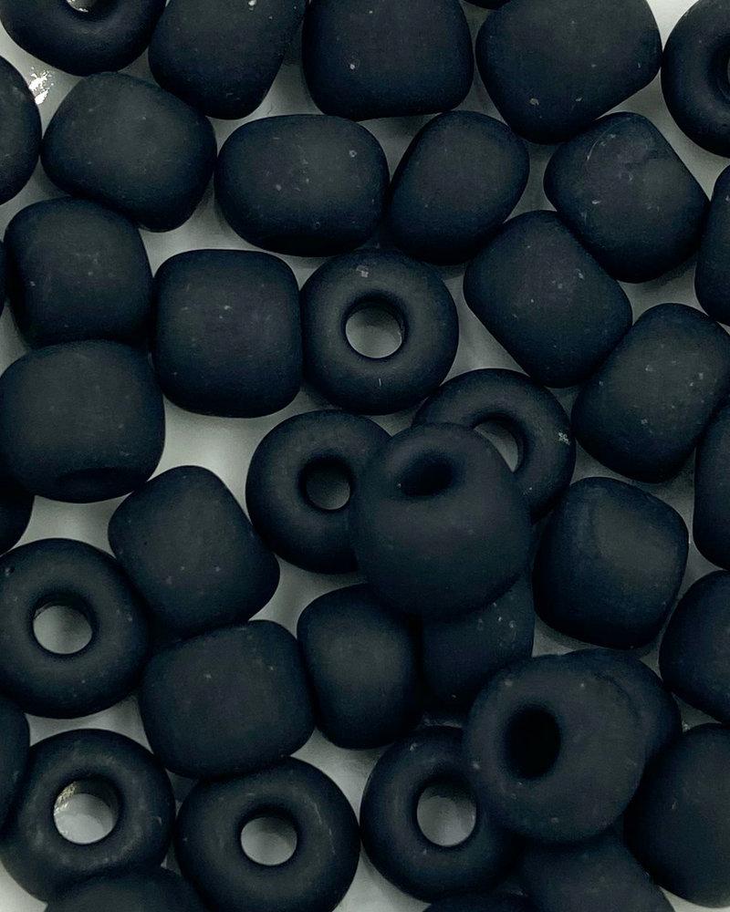 Jumbo Seed Bead #101m Matte Black- 50pc.