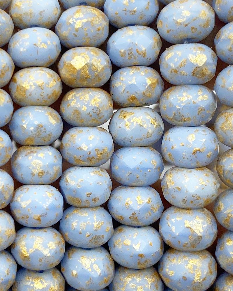 5x7mm Rondelle Pale Periwinkle Gold Wash
