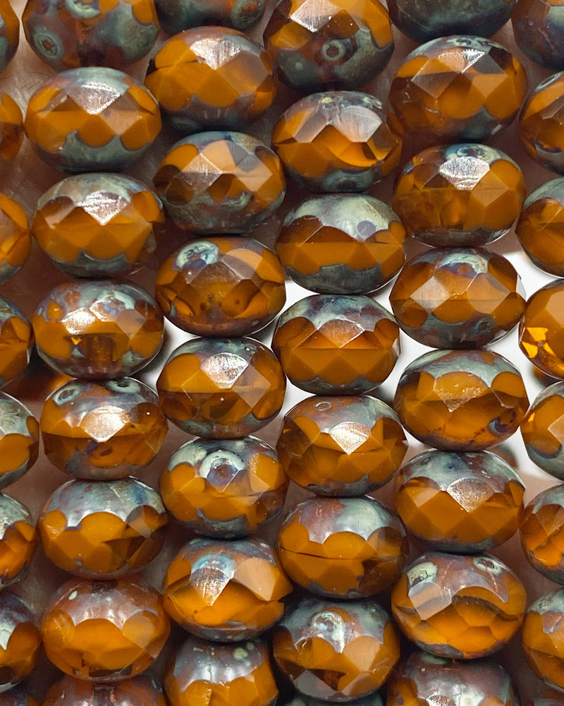 5x7mm Rondelle Orange Picasso