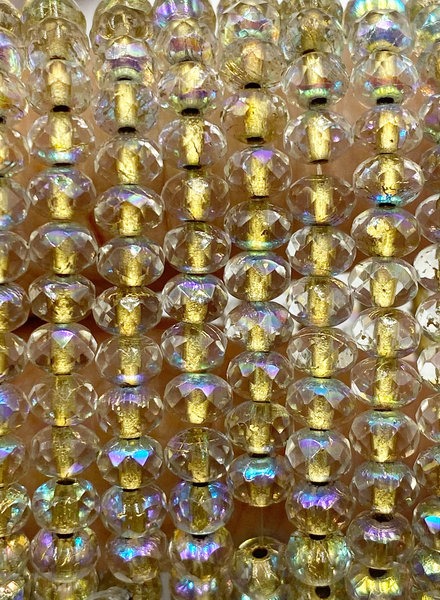 3x5mm Rondelle Citrine Gold Lined ab