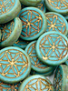 18mm Mandala of Life Coin Turqouise Bronze Wash