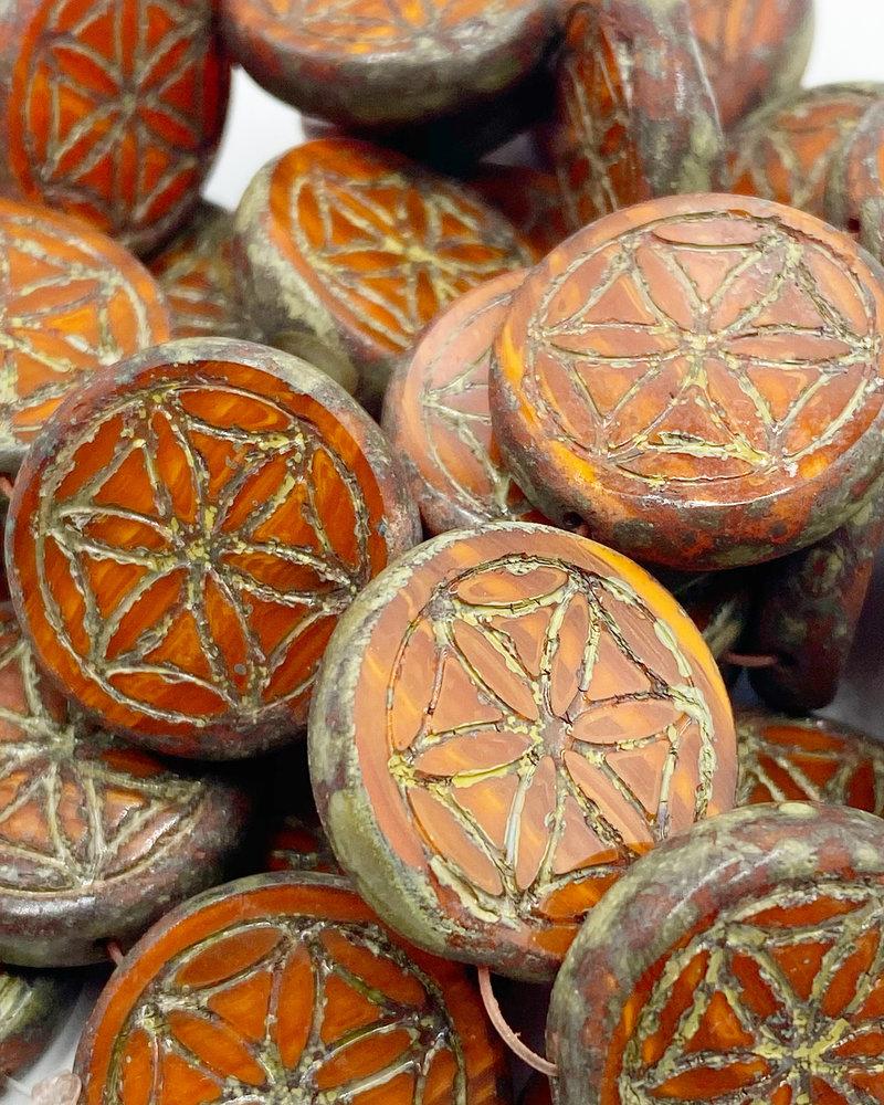 18mm Mandala of Life Coin Rusty Orange Picasso