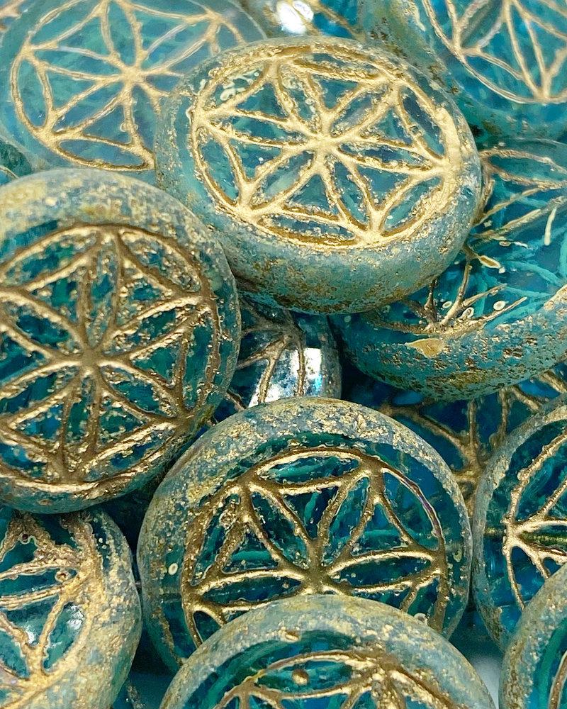 18mm Mandala of Life Coin Transparent Aqua Picasso