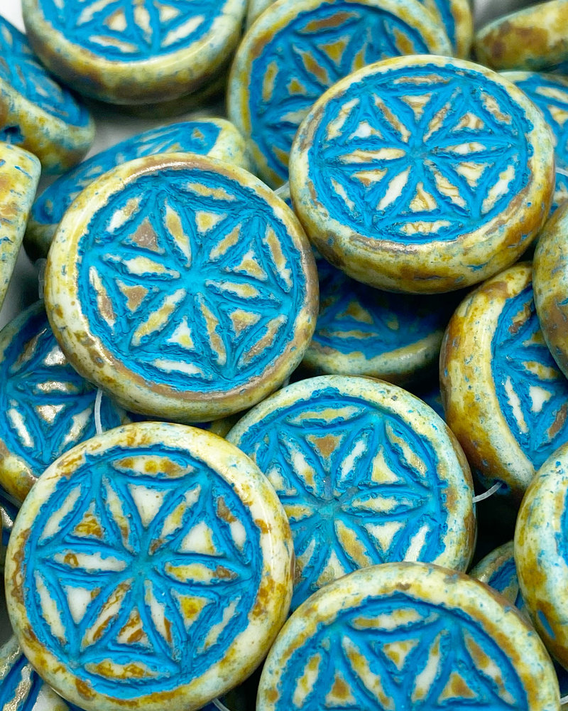 18mm Mandala Coin Turquoise Wash White Picasso