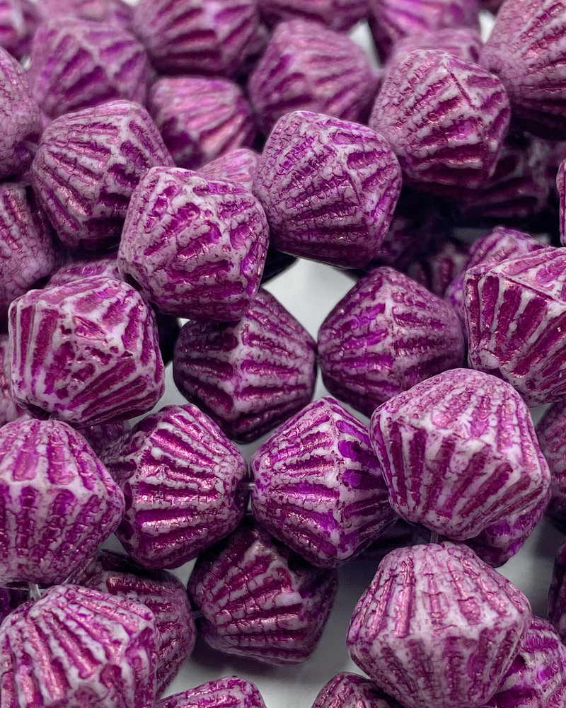 11mm Tribal Bicone Etched Metallic Pink