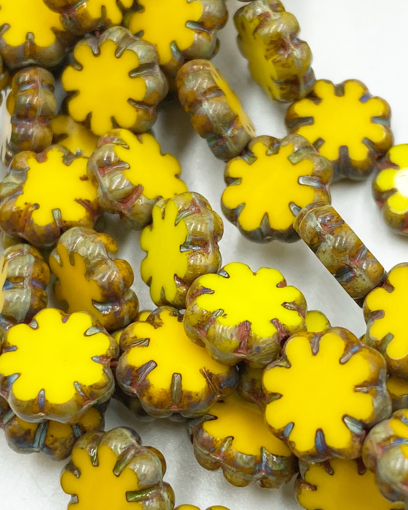 9mm Cactus Flower Yellow with Picasso Finish