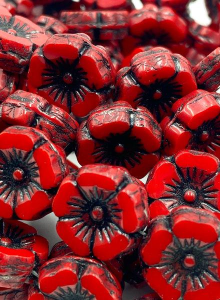 12mm Hawaiian Flower- Red & Black