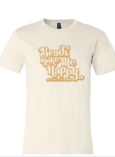 Beads Make Me Happy T-Shirt- Cream/Mustard