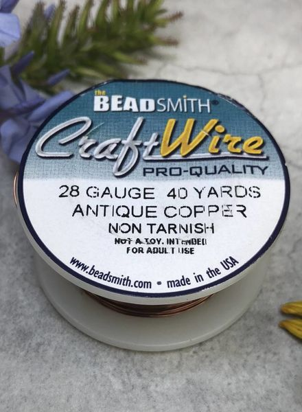 CRAFT WIRE 28GA ROUND 40YD ANTIQUE COPPER