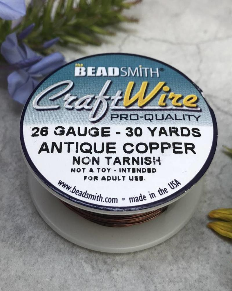 CRAFT WIRE 26GA ROUND 30YD ANTIQUE COPPER