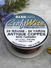 CRAFT WIRE 24GA ROUND 20YD ANTIQUE COPPER