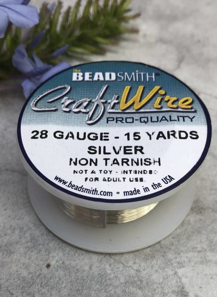 CRAFT WIRE 28GA ROUND 15YD NON TARNISH SILVER