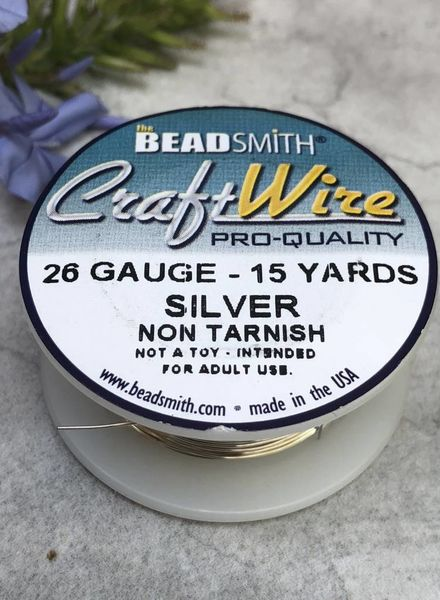 CRAFT WIRE 26GA ROUND 15YD NON TARNISH SILVER