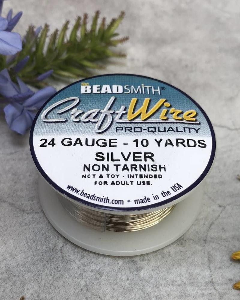 CRAFT WIRE 24GA ROUND 10YD  NON TARNISH SILVER