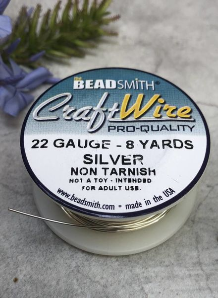 CRAFT WIRE 22GA ROUND 8YD NON TARNISH SILVER