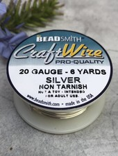 CRAFT WIRE 20GA ROUND 6YD NON TARNISH SILVER