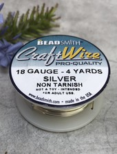 CRAFT WIRE 18GA ROUND 4YD NON TARNISH SILVER