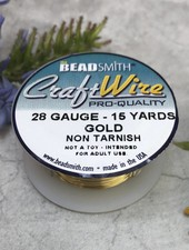CRAFT WIRE 28GA ROUND 15YD NON TARNISH GOLD