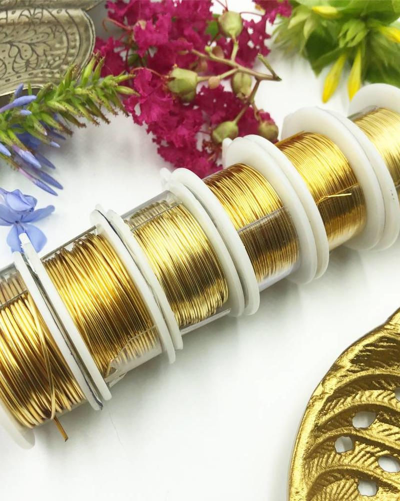 CRAFT WIRE 28GA ROUND 15YD NON TARNISH GOLD