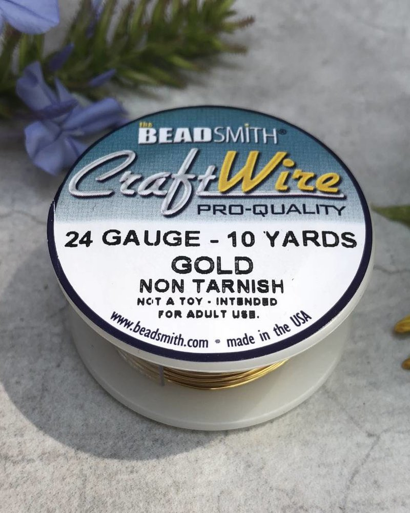 CRAFT WIRE 24GA ROUND 10YD NON TARNISH GOLD