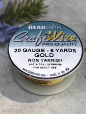 CRAFT WIRE 20GA ROUND 6YD NON TARNISH GOLD