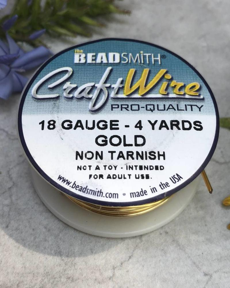 CRAFT WIRE 18GA ROUND 4YD NON TARNISH GOLD