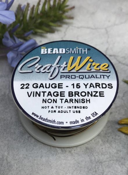 CRAFT WIRE 22GA ROUND 8YD NON TARNISH VINTAGE BRONZE