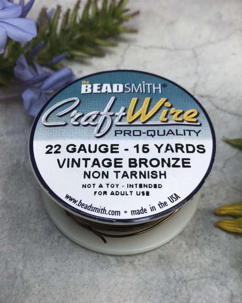 CRAFT WIRE 22GA ROUND 15YD VINTAGE BRONZE