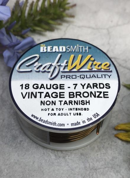 CRAFT WIRE 18GA ROUND 7YD VINTAGE BRONZE