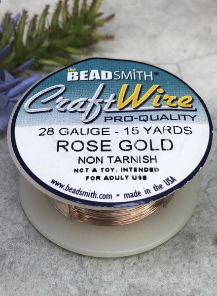 CRAFT WIRE 28GA ROUND 15YD ROSE GOLD