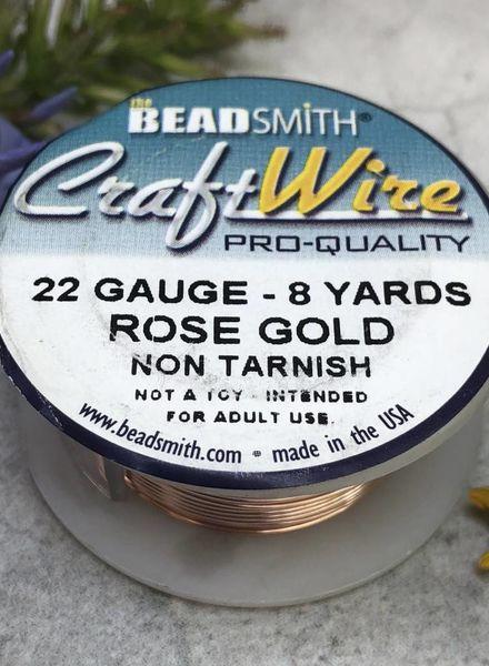 CRAFT WIRE 22GA ROUND 8YD ROSE GOLD